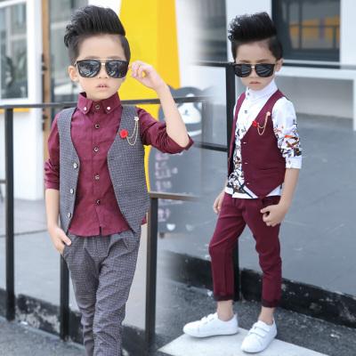 MinanSer童裝男童馬甲套裝春秋裝新款男童禮服小男孩西服三件套2020新款花童套裝3歲