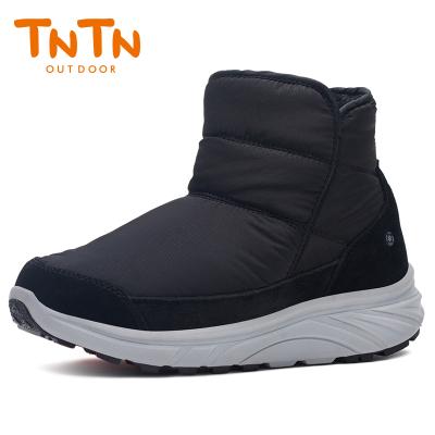 TNTN冬季保暖防水厚底俄罗斯东北羊毛加绒男女士雪乡地棉鞋马丁靴子(爵士黑)