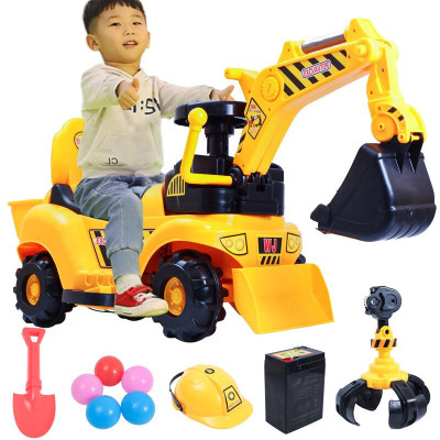 儿童新款仿真可坐人四轮电动玩具车可充电工程车自动挖掘机钩机男孩挖土机遥控车模型可坐可骑3岁以上宝宝婴幼儿塑料模型乐乐鱼