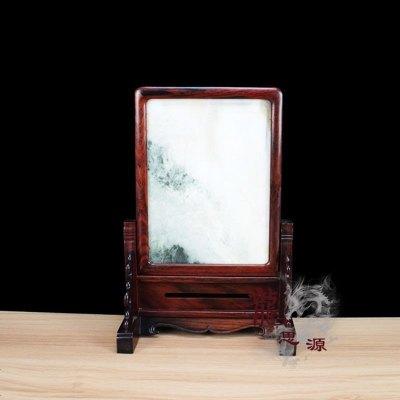龙思源 红木工艺品 木雕摆件 红酸枝大理石 山水插屏台屏 礼品