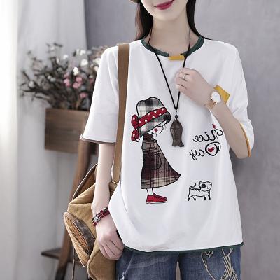 冪凝復古文藝夏季新款貼布繡花五分袖寬松上衣ins潮短袖T恤女