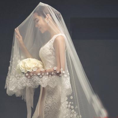 新娘頭紗結婚婚紗拖尾頭紗長3米頭紗結婚蕾絲花邊白色1米5長175cm以上