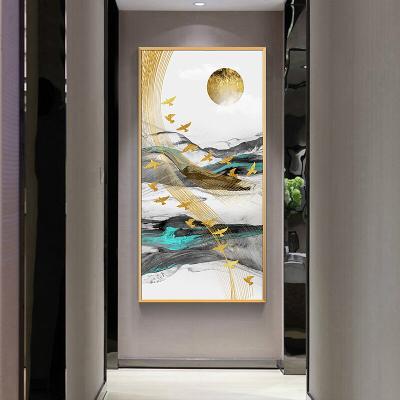 舒廳 玄關裝飾畫現代輕奢晶瓷畫金色琉璃抽象山水掛畫客廳沙發背景壁畫美 極光C款(拉絲金色)鋁合金外框高140*寬70cm