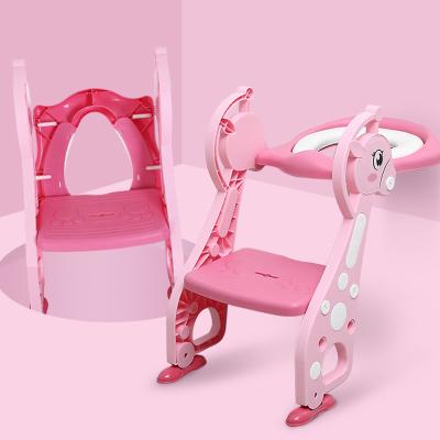兒童坐便器馬桶梯椅女寶寶小孩男孩廁所馬桶架蓋智扣嬰兒座墊圈樓梯式-【小鹿款】粉色(升級軟墊款)