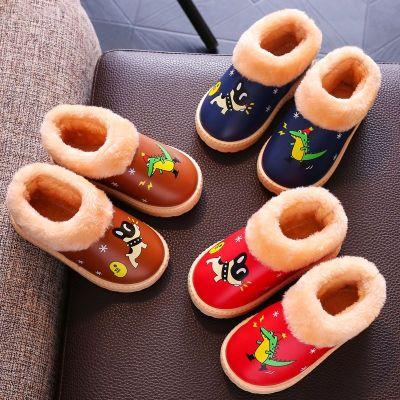 儿童棉鞋新款pu皮防水冬季男女宝宝加厚棉靴小中大童防滑鞋 衫伊格(shanyige)