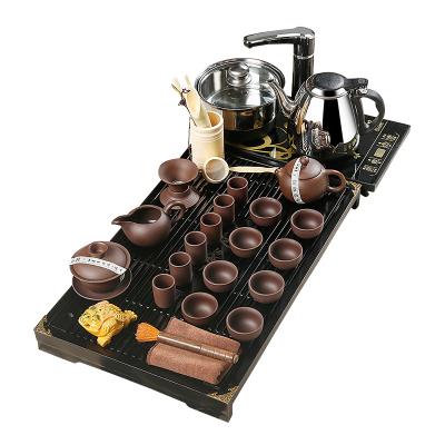 金鑲玉 功夫茶具套裝 柯木實木茶盤茶具茶壺茶杯泡茶爐整套 幽雅紫砂