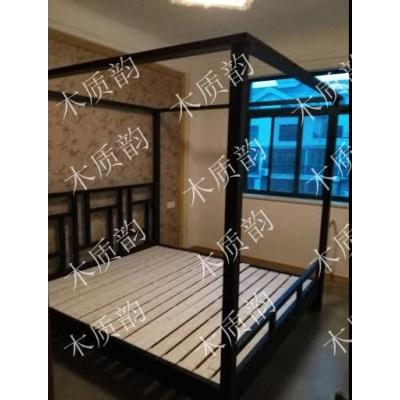 仿古中式四柱床實木架子床酒店大床古典家具撥步床1.8民宿定制床