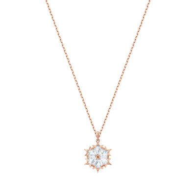 Swarovski 施華洛世奇鍍玫瑰金色唯美雪花浪漫百搭人造水晶項鏈 5428431