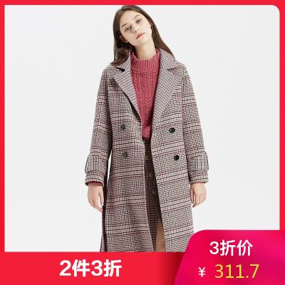 【2件3折價:311.7】羊毛MECITY女裝通勤格子雙面呢中長款小個子過膝外套大衣