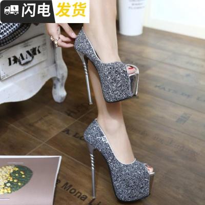 新上市17cm高跟鞋超細跟性感夜店淺口粉色閃亮片18cm16cm20cm啟如