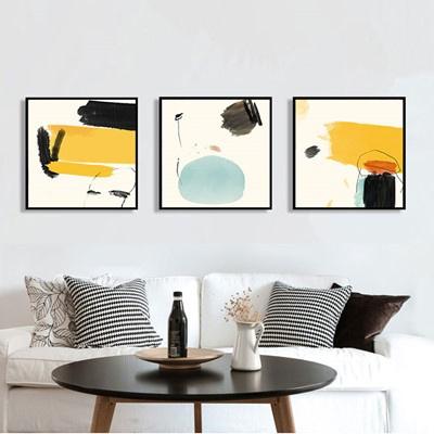 北歐客廳裝飾畫沙發背景墻壁畫古達現代簡約三聯畫臥室 淺綠色 70*70【適合3.5米左右墻面】大氣木紋框【免打孔】整套價