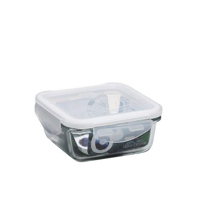 普業 330ML正方形保鮮盒PY-1905密封冰箱食品盒便當盒保鮮盒耐熱玻璃保鮮盒飯盒便當盒冰箱整理盒微波爐專用