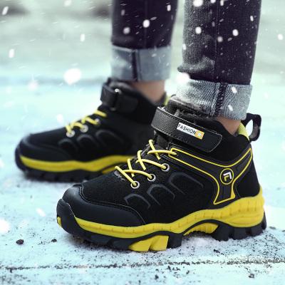 神奇绵羊儿童棉鞋男童鞋秋冬季高帮登山鞋女童加绒保暖徒步鞋中大童防水防滑运动鞋户外旅游鞋