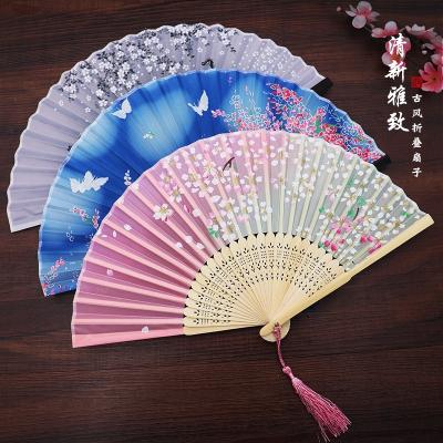 扇子折扇中國風女式古風流蘇夏季隨身古典古裝古代漢服折疊小竹扇 03櫻花雪月
