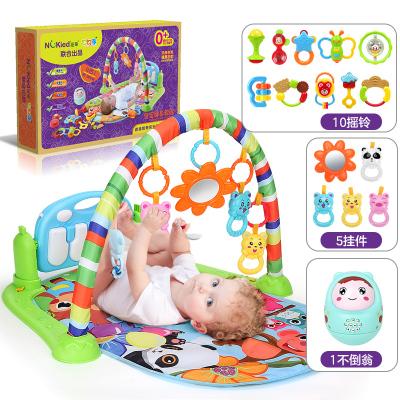 紐奇(Nukied)嬰幼兒早教益智玩具嬰兒健身架腳踏鋼琴新生兒寶寶益智音樂玩具男孩女孩嬰兒爬墊4合一多功能腳踏鋼琴健身架