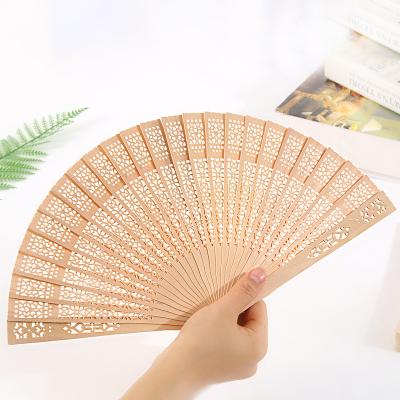 复古折叠扇木质女士檀香香木折扇子镂空礼品扇-原木色21cm纯色向阳花