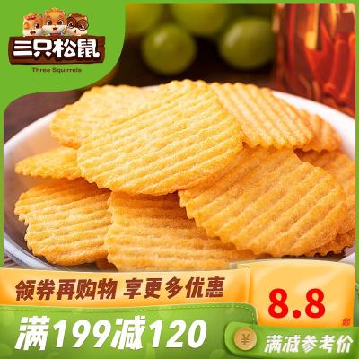 滿199減120【三只松鼠_小賤脆薯100g】休閑零食膨化食品小吃薯片原味