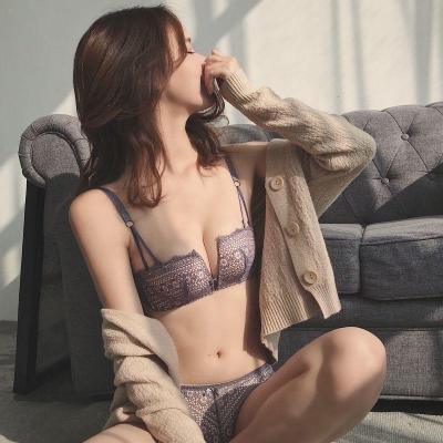 透气性感内衣女文胸内裤套装无钢圈四角聚拢显胸 纤婗(QIANNI)