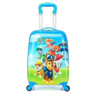 景榮兒童卡通可愛小孩書男女童包拉桿行李旅行箱子公主萬向輪18寸新品 軍綠色 18寸汪汪隊