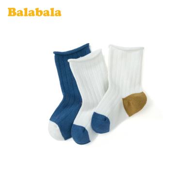巴拉巴拉兒童襪子春季新款中筒襪保暖短襪男女童棉襪小寶寶三雙裝