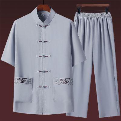 夏季短袖唐裝男套裝中國風男裝中老年漢服爸爸裝爺爺老年人太極服威珺