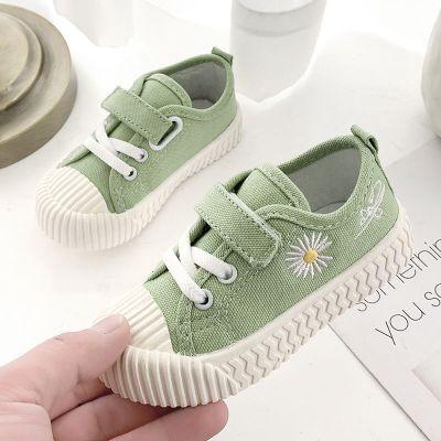 實心軟底春秋低幫兒童帆布鞋男女童布鞋寶寶學步鞋小雛菊小孩鞋子 纖婗(QIANNI)