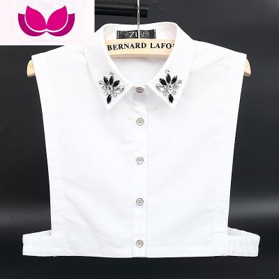 韓國水鉆裝飾領假領子女士百搭假領襯衫領子襯衣領春秋夏季假衣領