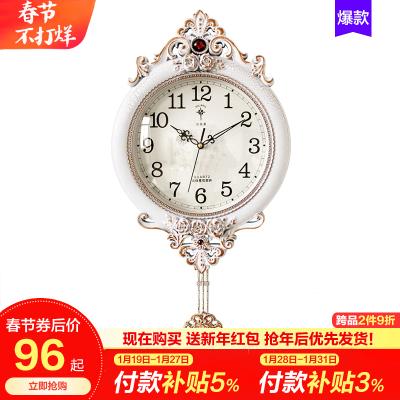 北极星(POLARIS)欧式田园摆钟客厅静音挂钟美式装饰时钟皇室宫廷墙钟壁钟简约时尚钟表挂表创意石英钟表
