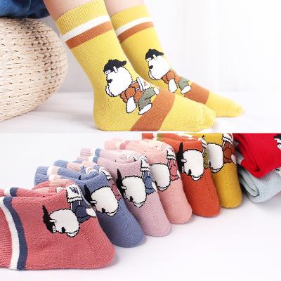 六指鼠儿童袜子纯棉秋冬季加绒加厚毛圈袜男女童中筒袜宝宝毛巾袜