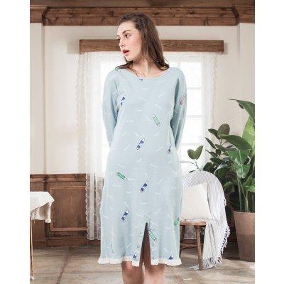 红豆居家(Hodohome)纯棉睡衣女式小清新舒适圆领睡裙