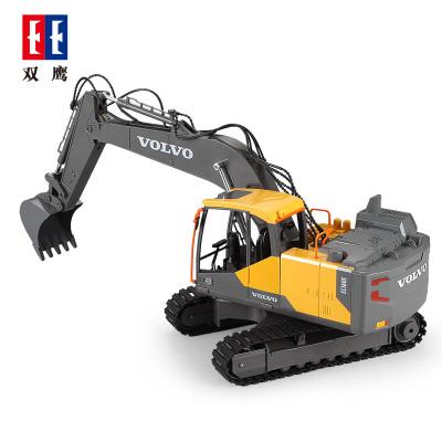 雙鷹doubleeagle 兒童遙控玩具挖掘機 沃爾沃正版授權 電動遙控合金挖斗挖土機三合一 E568-001