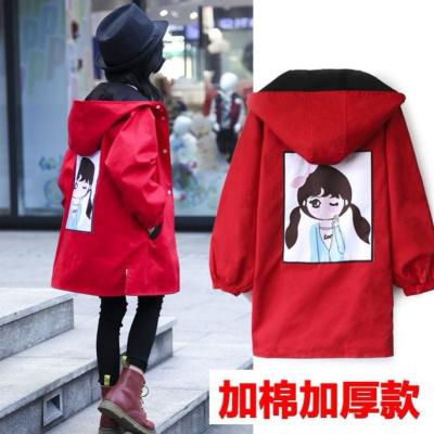 HKCP女童秋冬装外套中长款加厚两面穿风衣外套韩版中大童小女孩3-15岁
