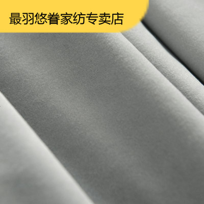 最羽 輕奢復古美式客廳遮光絲絨窗簾墨綠色灰色絨臥室成品絨布