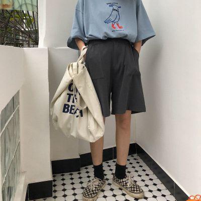 2020夏季五分褲寬松韓版高腰大碼休閑運動百搭bf闊腿褲短褲學生女威珺