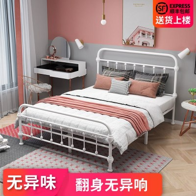 梦引 床1.5米双人宿舍简约1.2米单人欧式 ins网红铁艺床铁床成人钢架床