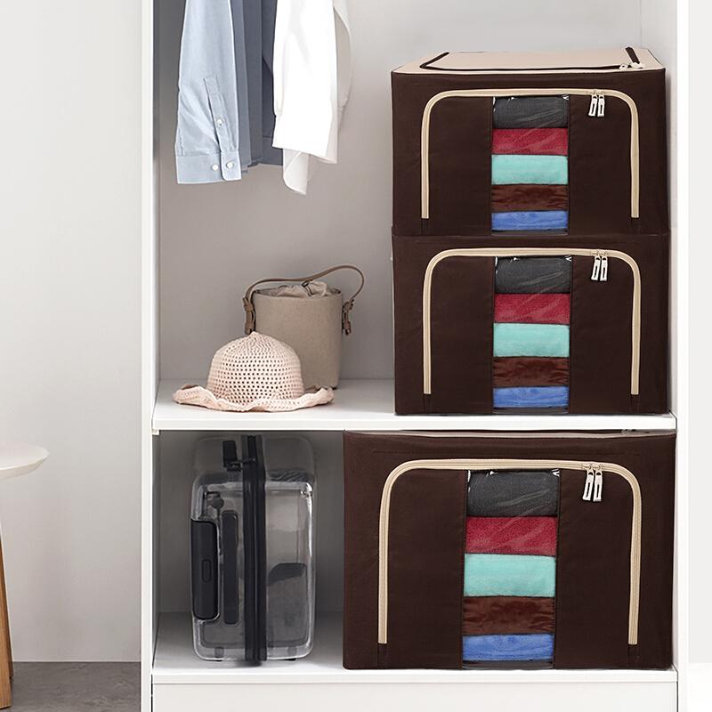 绿之源 新款牛津布收纳箱可折叠大号衣物收纳整理箱66升 牛奶咖啡色