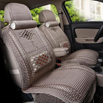 静航(Static route)新款夏季透气凉垫冰丝编织汽车坐垫四季通用坐垫五件套四季