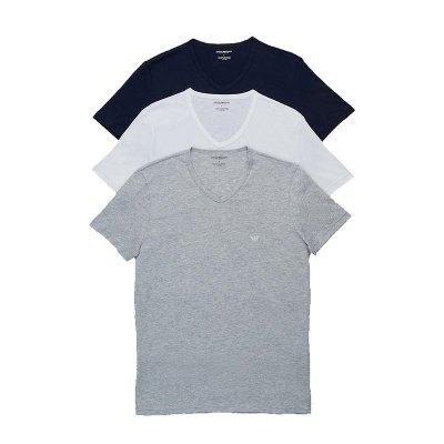 【直營】EMPORIO ARMANI阿瑪尼男士V領棉質短袖T恤家居服打底衫三件裝110856