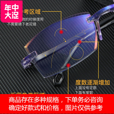 看远看近淡紫100度智能老花镜男远近两用自动调节度数高清防蓝光老人眼镜女 定制