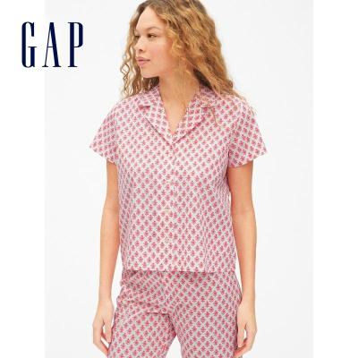 Gap女裝短袖睡衣夏季469138 休閑家居服女士翻領上衣