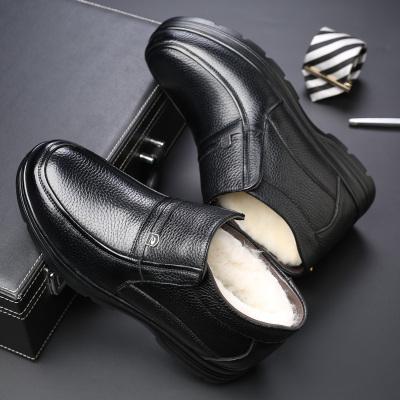 策霸2019冬季加绒头层牛皮羊毛内里中老年保暖棉靴父亲棉鞋橡胶底