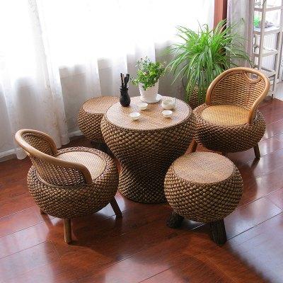 藤編圓形陽臺茶桌椅組合榻榻米喝茶桌小戶型家用茶幾復古禪意地臺