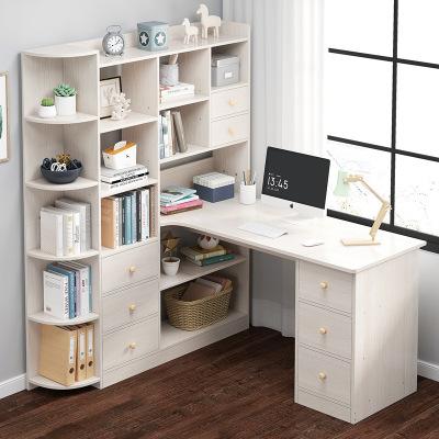 弘拜 書柜組合電腦桌臺式 辦公桌家用 書架一體學習桌 現代書桌學生臥室宿舍學習多功能寫字桌
