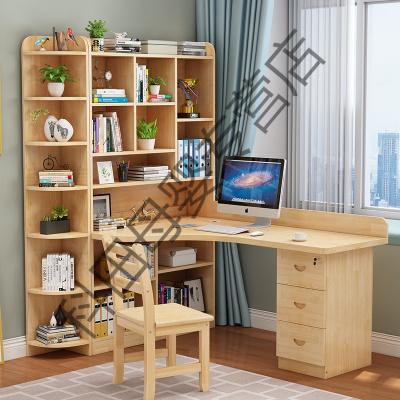 实木转角书桌书架组合家用简约学生儿童写字桌书柜一体电脑台式桌应学乐