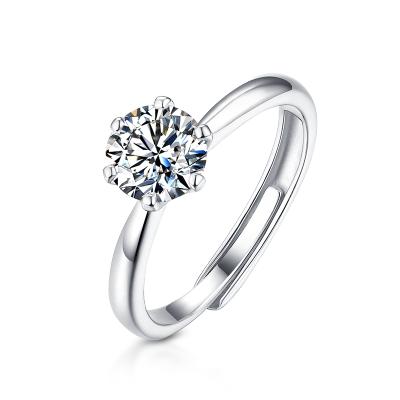T400一克拉莫桑石戒指女925銀進口鉆戒求婚結婚開口戒