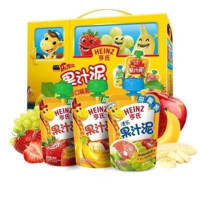 Heinz/亨氏樂維滋多口味果汁泥禮盒套裝120g*14 亨氏果泥嬰兒果泥吸吸樂 寶寶水果泥輔食寶寶營養零食果汁泥