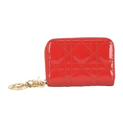 【正品二手95新】DIOR 紅色漆皮拉鏈多層卡包零錢包 19004355