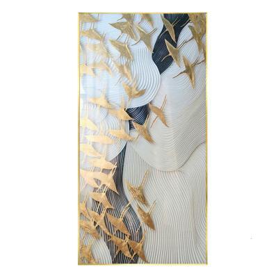 A款 寬100cm*高200cm土豪金(鋁合金屬拉絲畫框)晶瓷畫( 歐式玄關過道走廊掛畫輕奢現代簡約金鶴歐式客廳裝飾畫酒