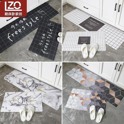賴床臥(LZO)家紡 ins北歐網紅廚房地墊防油防水長條防滑腳墊 進門門口墊子家用地毯