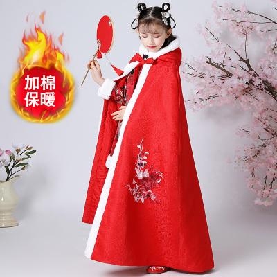 兒童斗篷秋冬季外出女童古裝漢服外套加厚保暖小孩公主披風肩紅色威珺